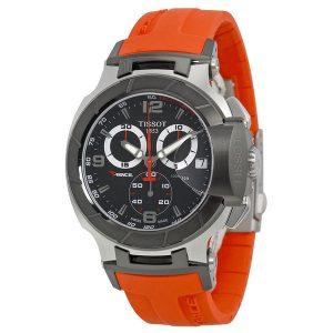 T-Race Chronograph Black Dial Orange Strap
