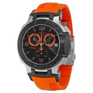 T-Race Chronograph Black-and-Orange Dial Orange Strap