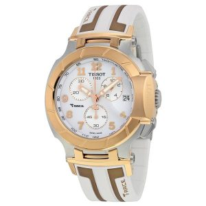 T-Race Chronograph White Dial Rose Gold-tone Case